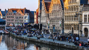 The Graslei in Ghent's old city centre at sunset stock video