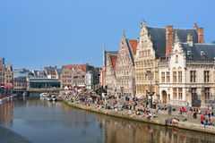 Graslei in Ghent in the summer day Royalty Free Stock Photo