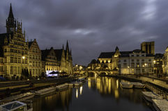 Graslei Harbor in Gent at Night royalty free stock image