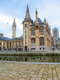 Graslei, the historic center of Ghent at the Leie river. Royalty Free Stock Images