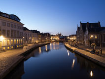 Graslei At Night in Ghent, Belgium Royalty Free Stock Photos