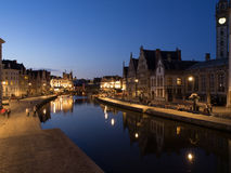 Graslei At Night in Ghent, Belgium. Graslei with Reflecting Canal At Night in Ghent, Belgium Royalty Free Stock Photography