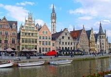 Graslei och Korenlei, Ghent, Belgien Fotografering för Bildbyråer
