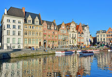 Graslei square in historical center of Ghent, Belgium Royalty Free Stock Photo