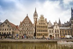Graslei street in Ghent. Ghent, Belgium - August 14, 2015 - Old colorful traditional houses at the Graslei along the canal Stock Images