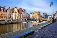 Graslei street view, Ghent royalty free stock photo