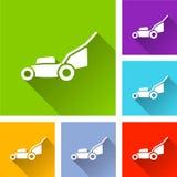 Grasmaaimachinepictogrammen met schaduw vector illustratie