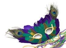 Grasmasker en parels van Mardi Stock Foto