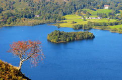 Grasmere Lake and Island from Ewe Crag Stock Photos