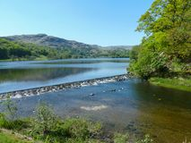 Grasmere lake on a sunny day stock photo