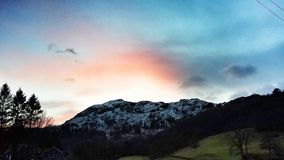 Grasmere Mountain Dusk in Winter Royalty Free Stock Photo