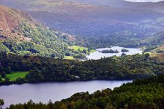 Grasmere and Rydal Water. An aerial view of Grasmere and Rydal Water from the slopes of Silver Howe. English Lake District National Park Stock Image