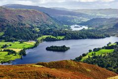 Grasmere from Silver Howe. An aerial view of Grasmere from the slopes of Silver Howe. English Lake District National Park Stock Photo