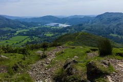 Grasmere. View of Grasmere from the hills leading up to Helm Crag, Lake District; Cumbria; UK Royalty Free Stock Photo