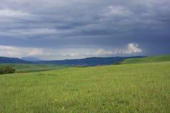 Grasrijk gebied en donkere wolken Royalty-vrije Stock Afbeelding
