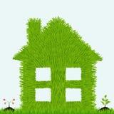 Grasrijk huis met installaties. Ecologie Royalty-vrije Stock Afbeelding