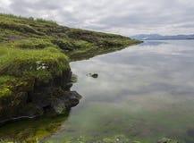 Grasrijke bank van thingvallavatnmeer met glashelder water, gre royalty-vrije stock foto's