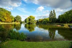 Grasrijke banken van meer in park, Birmingham, Engeland royalty-vrije stock foto's