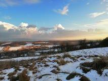 Grasrijke die gebieden door de winter worden gebegeerd royalty-vrije stock foto