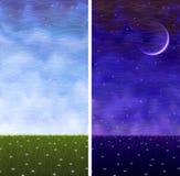 Grasrijke verticale de dag en de nachtlandschappen van de zomer Royalty-vrije Stock Fotografie