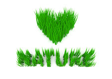 Grass. 3d grass. Love nature slogan aimed at environmental protection. Eco topic Stock Photos