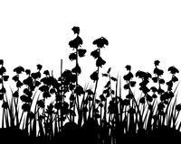 Field of Flowers Silhouette Royalty Free Stock Photos