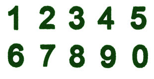 Grass letter set 1 to 0. 3d illustration of the numbers 1 - 0, with grass covering them Stock Photography