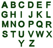 3D Grass textured alphabet a to z. 3d illustration of the letters a to Z, with grass as a texture Stock Image