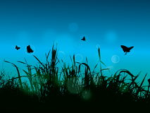 Grass background. With butterfly and light bokeh illustration royalty free illustration