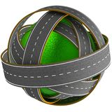 Grass ball with many roads. 3D grass ball with many roads. 3D render image. Abstraction Stock Images