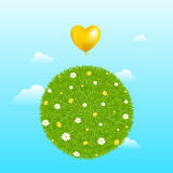 Grass Ball With Yellow Balloon. Vector Royalty Free Stock Images