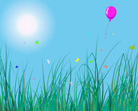 Grass and balloon. Vector illustration of grass background with balloon for design usage Stock Photography