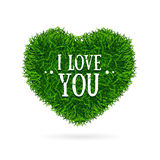 Grass Banner Heart Love You Valentine Concept Card. Vector Royalty Free Stock Images