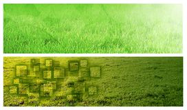 Grass banners. Set of two horizontal green banners Royalty Free Stock Photography