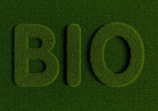 Grass BIO. Word BIO written with grass Stock Photography