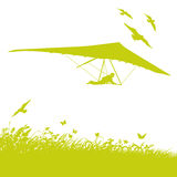 Grass, birds and hang gliders Royalty Free Stock Image