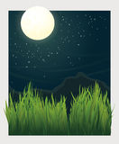 Grass blades and night moon vector illustration Royalty Free Stock Image