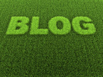 Grass Blog. Grass in the shape of the word - blog - 3D rendering Royalty Free Stock Photo