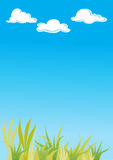 Grass with blue sky and clouds Royalty Free Stock Photo