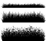 Grass borders silhouette set vector Royalty Free Stock Photos