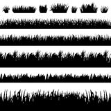 Grass borders silhouette set on white background Stock Images