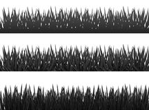 Grass borders silhouette set on white background vector Stock Photo