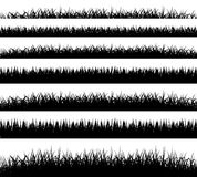Grass borders silhouette on white background Stock Image