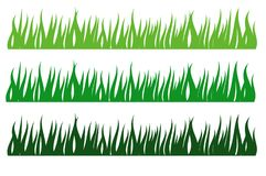 Grass borders vector illustration  isolated on white background.Spring grass pattern set. Royalty Free Stock Photos