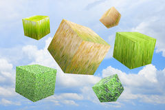 Grass box in sky. The grass box in sky Royalty Free Stock Images