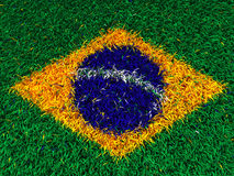 Grass brazil flag. 3d brazil flag on grass Vector Illustration