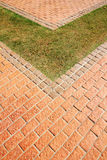Grass and brick block. The Grass and brick block Stock Images