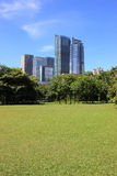 Grass and buildings Royalty Free Stock Photos