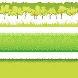 Grass and bushes. Green Grass with bushes different colors and shape Stock Photos