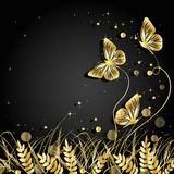 Grass and butterflies silhouettes background. Stock Photography
